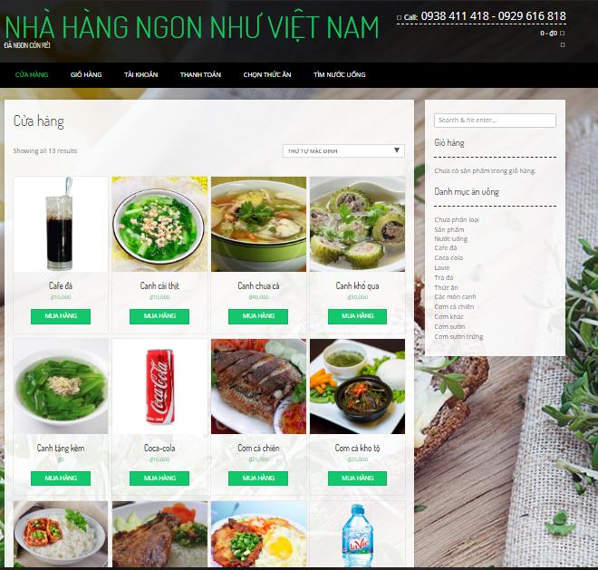 Mẫu Giới thiệu demo Web Nhà hàng, Bán hàng online…